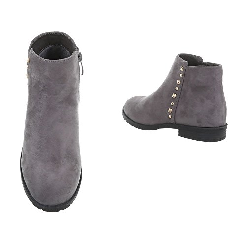 Ital-Design Chelsea Boots Damenschuhe Chelsea Boots Blockabsatz Blockabsatz Reißverschluss Stiefeletten Grau NK03-