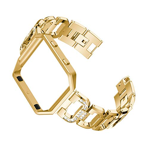 Cywulin Compatible for Fitbit Blaze Bands, Stainless Steel Bling Rhinestone Diamond Replacement Wristband Strap Bracelet Metal Accessory with Protective Frame Case Accessories Women Men (Gold)