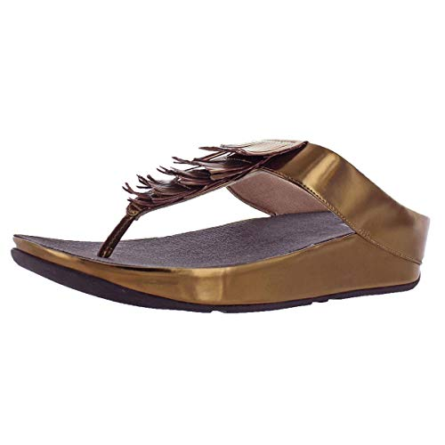 - FitFlop Women's Cha Cha Beaded Leather Slip-on Sandals Shoes Bronze Size 11