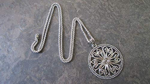 Long Medallion - Extra Long Circle Medallion Necklace with Stainless Steel Wheat Chain