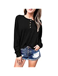 FarJing Women Long Sleeve Casual Round Neck T Shirts Blouse Tops with Button