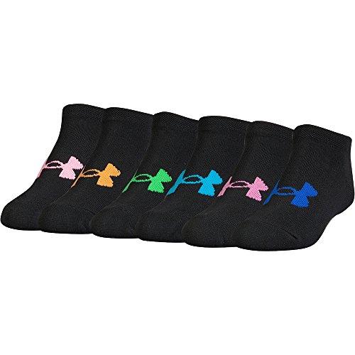Under Armour Essential Twist No Show - 6 Pack Girls Sock (Youth Small (Youth Shoe Size 13.5K-4Y), Black(U3881L6-961)/Rainbow/Black)