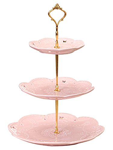 Jusalpha 3-tier Porcelain Cake Stand/ Cupcake Stand/ Dessert Stand/ Tea Party Pastry (Serving Display)