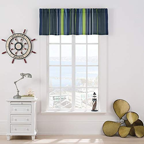 Valance Matthew Stripes Lined Window in Blue Greens and -