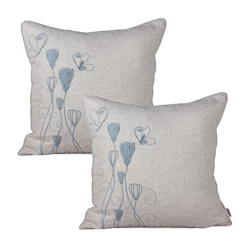 Queenie® - 2 Pcs of Floral Embroidery on Solid Cotton Linen Background Decorative Throw Pillow Case Embroidered Throw Pillowcase Pillow Sham Cushion Covers 18 X 18 Inch 45 X 45 -