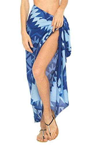 80c6e55b60 SHU-SHI Womens Beach Swimsuit Cover Up Ethnic Sarong Wrap with Coconut Clip  Royal Blue