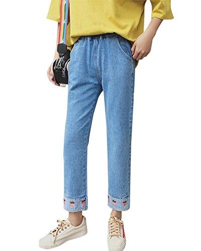 Femme Pantalon Droit Printemps Automne Large Taille Haute Chic Jeans  La Cheville Bleu Clair