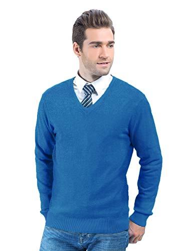 Choies Men's V Neck Rib Trim Long Sleeve Sweater (Medium, Blue-)