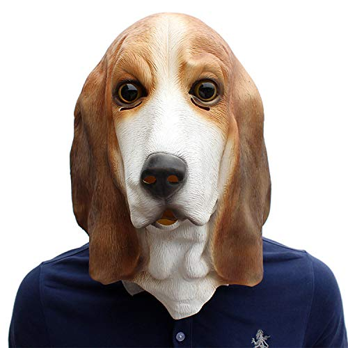 Halloween Festival Party Supplies Pet Latex Dog Mask Basset]()