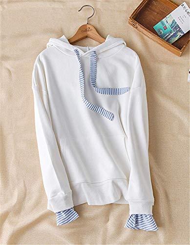 Ragazze Sweatshirts College Cappuccio Camicetta Maniche Monocromo Baggy Donne Abbigliamento Pullover Lunghe Felpe Giovane Con Hoodies Moda Casual Bianca Primaverile Autunno 0a1BwZwxq6