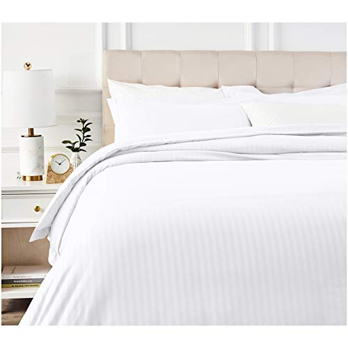 AmazonBasics Deluxe Striped Microfiber Duvet Cover Set - Full or Queen, Bright White