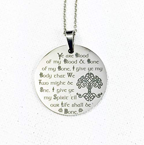 Engraved Scottish Wedding Vows 'Ye are Blood of my Blood' Necklace