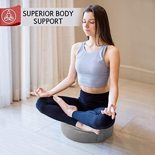 Florensi Cojín de meditación (40,6 x 40,6 x 12,7 cm), almohada de meditación de terciopelo grande, almohada de yoga premium para mujeres y hombres, cojín de yoga, almohadas de meditación para sentarse en el piso, cojines de meditación de trigo sarraceno 6