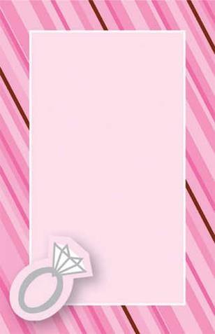 (Pink Stripe Bridal Shower Ring Accent Imprintable Invitations Envelopes 10 Ct )