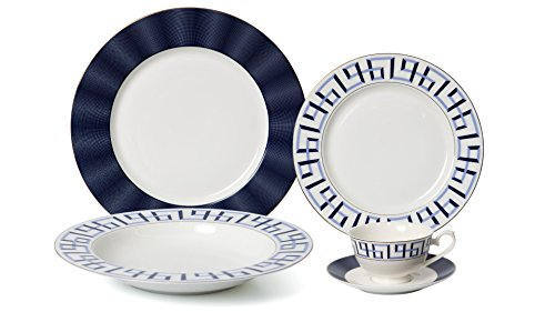 EURO Porcelain 20-pc. Dinner Set Service for 4, 24K Gold-plated Luxury Bone China Tableware (Bentley II