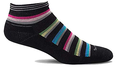 Sockwell Women's Sport Ease Bunion Relief Socks (Black Stripe, Medium/Large)