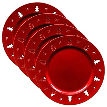 Superb Cut Out Charger Plates 4pk (Red) generic