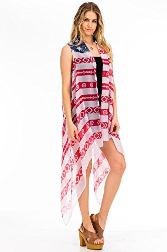 ef339ca1c5d0f Image Unavailable. Image not available for. Color: Patriotic American Flag  Inspired Distressed Kimono ...