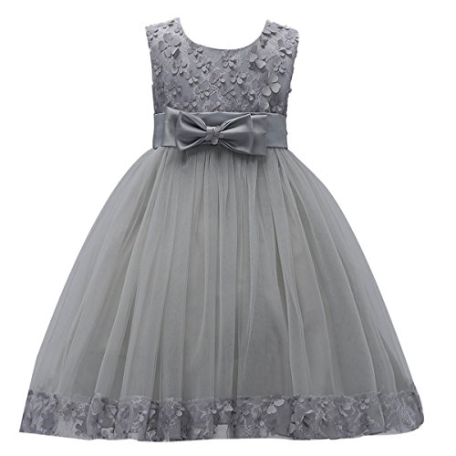 IBTOM CASTLE 2-10T Big Little Girl Ball Gown Short Lace Flower Tulle Dresses for Wedding Party Evening Dance Gray 4T