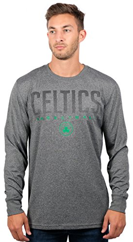 Boston Celtics Men's T-Shirt Athletic Quick Dry Long Sleeve Tee Shirt, Large, Charcoal