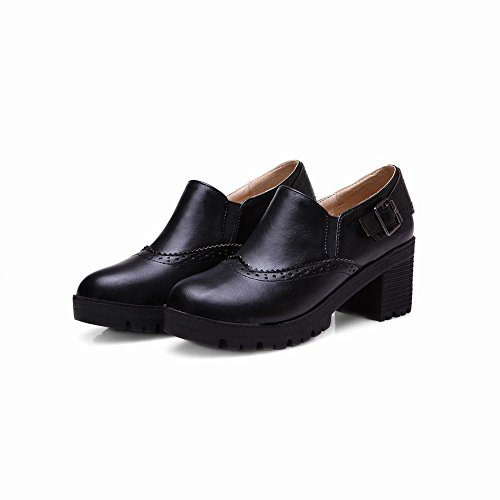 Carolbar Women's Retro Concise Buckle Mid Heel Elastic Loafer Shoes Black hfpZnasOO