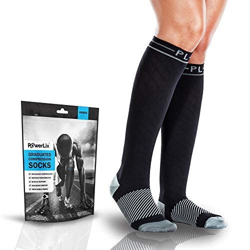 POWERLIX Compression Socks for Men & Women - 20-30 mmHg Medical Stockings Support Circulation, Recovery - Best Graduated Athletic Socks for Nursing, Pregnancy, Shin Splints, Varicose Veins, Running ()