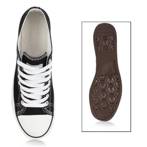 Herren Sneakers Freizeitschuhe Sportschuhe Schnürer Stoffschuhe Fitness Streetstyle viele Farben Flandell Schwarz Ambler