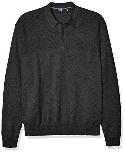 Cutter & Buck Men's Textured Jersey Cotton-Rich Lakemont Zip Polo Sweater, Charcoal Heather, Small
