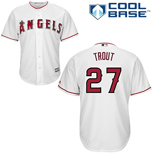 Mike Trout Los Angeles Angels of Anaheim #27 MLB Men's Cool Base Home Jersey (Large)