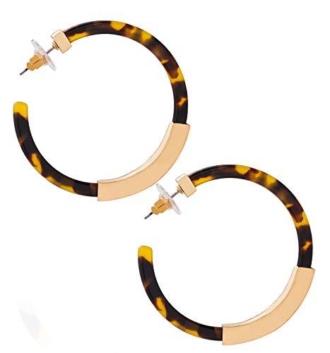 Hoop Earrings for Women Geometry Acrylic Resin Earrings Bohemia Tortoise Shell Earrings Mottled Statement Stud Earrings Fashion Jewelry(Dark Leopard)