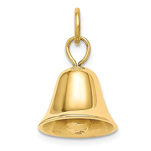 Jewel Tie 14k Gold Polished Moveable Wedding Bell Charm Pendant - (Yellow Gold, 0.75 Inch Height)