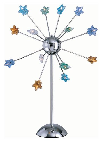 Lite Source LS-2614C/MULTI Starstruck 14-Lite Table Lamp, Chrome with Multi Star Glass