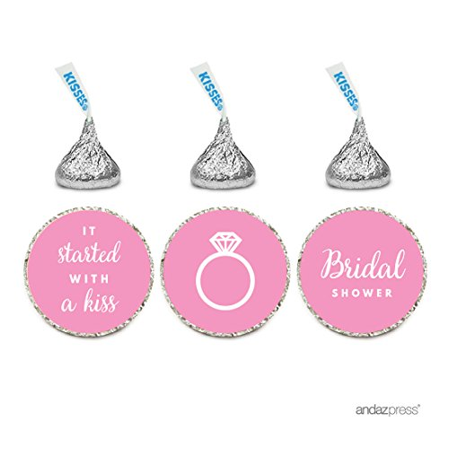 Andaz Press Chocolate Drop Labels Trio, Fits Hershey's Kisses, Wedding Bridal Shower, Pink, - Bridal Candy Wrapper Shower