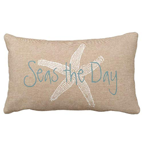 Emvency Throw Pillow Cover Seas The Day Vintage Starfish On Canvas Look Decorative Pillow Case Whimsical Home Decor Rectangle Queen Size 20x26 Inch Cushion - Throw Pillow Day