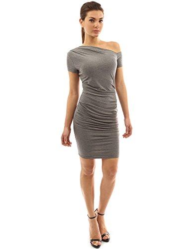 PattyBoutik Mujer manga del casquillo del vestido del estiramiento de un hombro color gris jaspeado