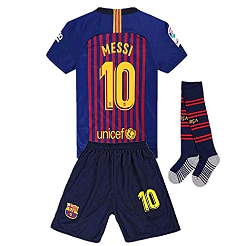 (Newkidsjs Barcelona #10 Messi Kids and Youth Soccer Jersey & Shorts & Socks 2018-2019 Home Red/Blue 11-12Years/Size 26)