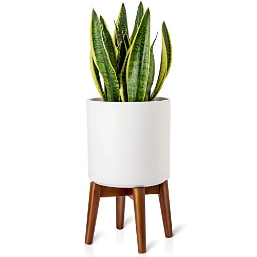 Mkono Plant Stand Mid-Century Modern Plant Stand Indoor Flower Pot Holder Home Decor(Plant and Pot NOT Included),Brown ()