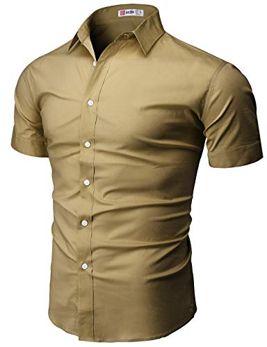 - H2H Mens Casual Slim Fit Button-Down Dress Shirts Short Sleeves Solid Colors Lightbrown US 2XL/Asia 3XL (KMTSTS0135)