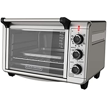 BLACK+DECKER TO3210SSD 6-Slice Convection Countertop Toaster Oven, Includes Bake Pan,