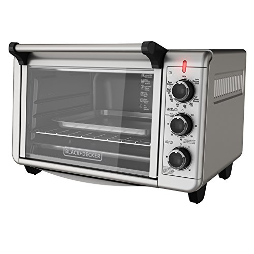BLACK+DECKER TO3210SSD 6-Slice Convection Countertop Toaster Oven, Includes Bake Pan, Broil Rack & Toasting Rack, Stainless Steel/Black Convection Toaster Oven