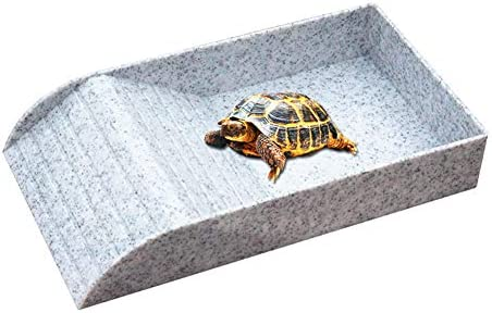 Ozzptuu Plastic Imitation Rock Reptile Food and Water Bowl with Ramp and Basking Platform Also Fit for Bath