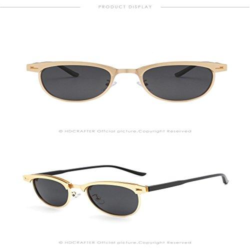 Sunglasses Frame Black Sunglasses LUHUIYUAN Driving Moda Half Classic Polarized Gold Metal gqnXfxEw