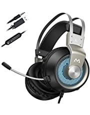 Mpow EG3 Gaming Headset, 7.1 Surround Sound Gaming Headphones for FPS Game, 50mm Driver, Stereo Over-Ear USB Computer Headset with Noise Cancelling Mic, LED Light, Easy Volume/Mic Control for PC, PS4