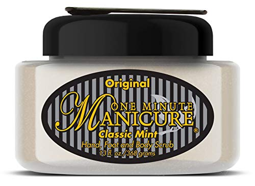 One Minute Manicure Moisturizing Salt Scrub - 13 oz | Professionally Formulated To Exfoliate, Recondition & Moisturize Skin | Enhanced With Botanical Oils & Natural Sea Salts (Classic Mint) ()