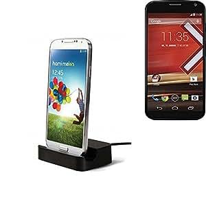 Dock USB Micro adecuado para el Motorola Moto X, negro | estación de carga incluyendo el cable USB 2.0 cable de datos / cargador, la horquilla del muelle de escritorio cargador universal adecuado para el teléfono móvil para smartphones con conector micro USB, cargador de escritorio del cargador, marca: KS-Comercio (TM). compatible con Motorola Moto X