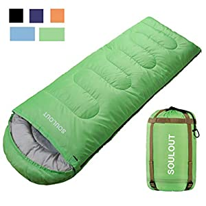 Envelope Sleeping Bag - 4 Seasons Warm Cold Weather Lightweight, Portable, Waterproof With Compression Sack for Adults & Kids - Indoor & Outdoor Activities: Traveling, Camping, Backpacking, Hiking