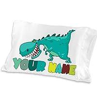 Funda de almohada personalizada para niños con dinosaurios lindos - (para niños pequeños - Tamaño de viaje 13 x 18) Regalo de Navidad Idea de regalo de cumpleaños para niños niños decoración