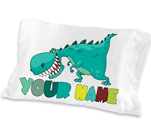 Personalized Dinosaur - Personalized Cute Dinosaur Boys Pillow Case - ( Toddler - Travel Size 13 x 18 ) Christmas gift Birthday Gift idea for boys kids room decor