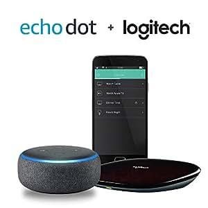 Echo Dot (3rd Gen) - Charcoal + Logitech Harmony Hub