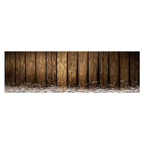 Auraisehome Decorative Aquarium Background Antique Old Planks American Style Western Rustic Wooden,Small Grass and Daisies Decal Sticker Home Decor Art L35.4 x H15.7